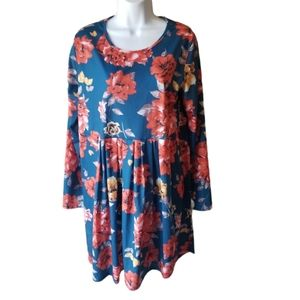 Pleated Long Sleeve Floral Dress Size XL